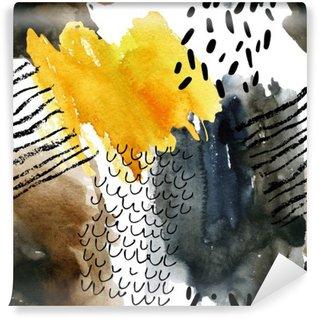 Fotomural Estándar Modelo inconsútil abstracto de la acuarela en colores del otoño.
