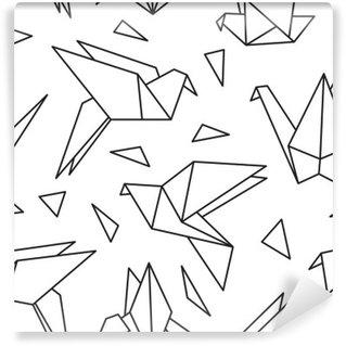 Fotomural Estándar Modelo inconsútil con los pájaros de origami. Puede ser utilizado para el papel pintado de escritorio o el marco de un tapiz o un cartel, por patrones de relleno, texturas de la superficie, fondos de páginas web, textiles y más.