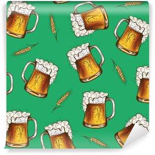 Fotomural Estándar Modelo inconsútil de la cerveza. ilustración vectorial