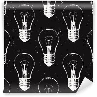 Fotomural Estándar Modelo inconsútil del grunge del vector con las bombillas. estilo de dibujo última moda moderna. Idea y concepto de pensamiento creativo.