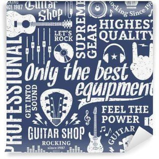 Fotomural Estándar Modelo inconsútil del vector de estilo retro tipográfica tienda de guitarras