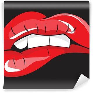Fotomural Estándar Mordiendo sus dientes los labios rojos