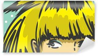 Fotomural Estándar Mujer de pelo flequillo asomándose hacia arriba, de la moda retro de fondo