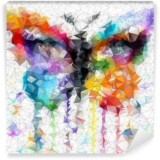 Fotomural Estándar Multicolor mariposa brillante fondo abstracto geométrico