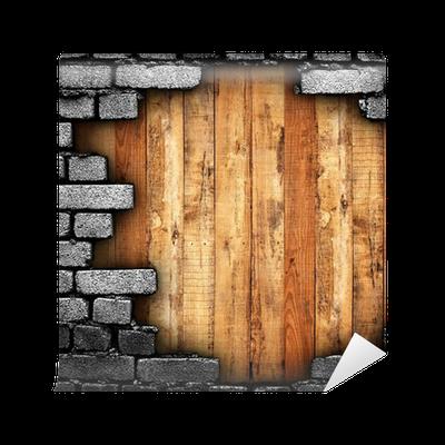 Fotomural muro roto con el fondo de madera pixers - Muro de madera ...