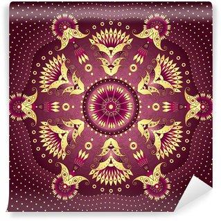 Fotomural Estándar -Oro púrpura marco redondo