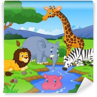 Fotomural Estándar Paisaje sabana con los animales y pozo de agua