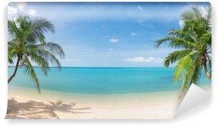 Fotomural Estándar Panorámica playa tropical con palmeras de coco