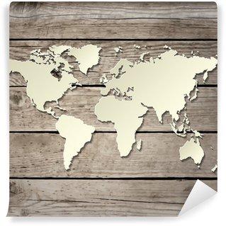 Fotomural Estándar Papel de mapa del mundo en un vector de tabla de madera