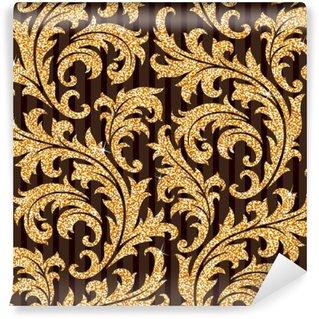 Fotomural Estándar Papel pintado floral de oro