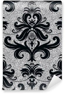 Fotomural Estándar Papel pintado floral de plata