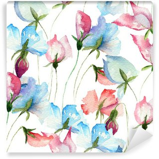Fotomural Estándar Papel pintado inconsútil con las flores del guisante dulce