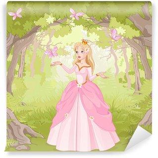 Fotomural Estándar Paseando princesa en el bosque fantástico