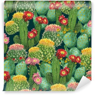 Fotomural Estándar Patrón con cactus en flor