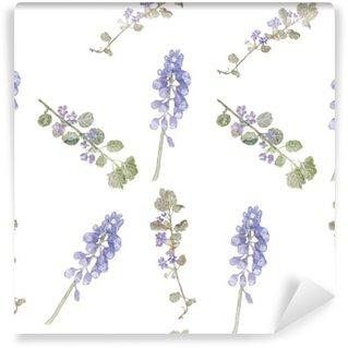 Fotomural Estándar Patrón de flores de color púrpura. Flores del campo, hierba fina patrón de la acuarela