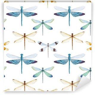 Fotomural Estándar Patrón de las libélulas de la acuarela