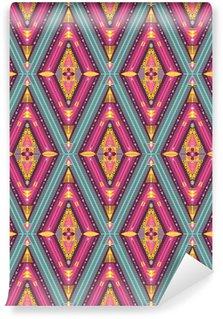 Fotomural Estándar Patrón tribal colorido Hipster transparente con elementos geométricos