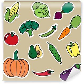 Fotomural Estándar Pegatinas de dibujos animados con verduras