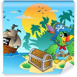 Fotomural Estándar Pirata del loro y el pecho en la isla