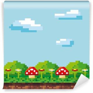 Fotomural Estándar Pixelada videojuego iconos ilustración vectorial de diseño