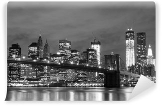 Fotomural Estándar Puente de Brooklyn y Manhattan horizonte en la noche, New York City