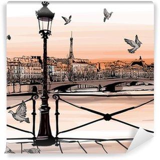 Fotomural Estándar Puesta de sol en el río Sena desde el Pont des Arts en París