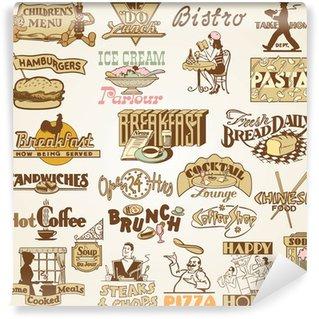 Fotomural Estándar Restaurante Retro vintage labels, un conjunto de temas diversos alimentos