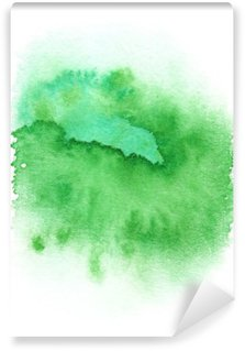 Fotomural Estándar Salpicaduras de pintura de color verde brillante redondo pintado en acuarela sobre fondo blanco limpio