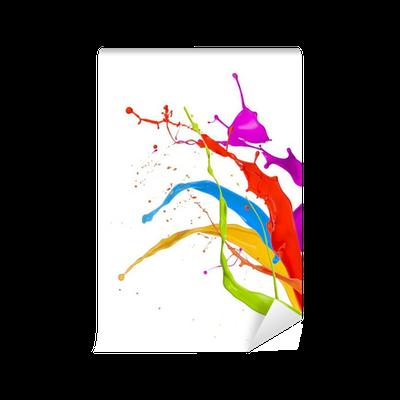 Fotomural est ndar salpicaduras de pintura de colores aislados sobre fondo blanco pixers - Salpicaduras de pintura ...