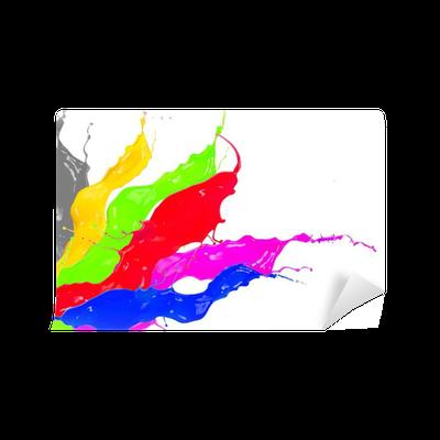 Fotomural salpicaduras de pintura de colores aislados sobre fondo blanco pixers vivimos - Salpicaduras de pintura ...