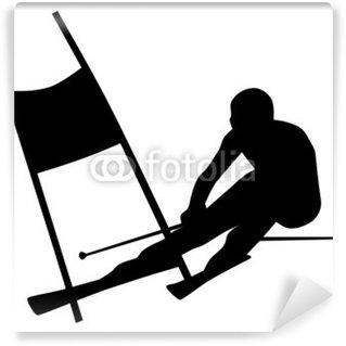 Fotomural Estándar Silueta de un esquiador de slalom