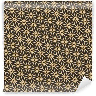 Fotomural Estándar Sin fisuras paleta antiguo negro y oro en diagonal japonés vector patrón asanoha