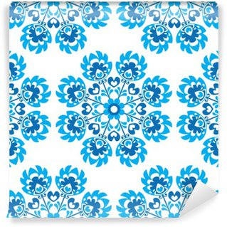 Fotomural Estándar Sin fisuras patrón floral azul polaco del arte popular - wycinanki