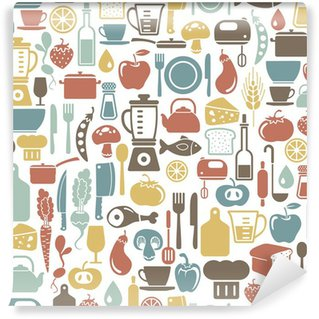 Fotomural Estándar Sin patrón, con iconos de cocina