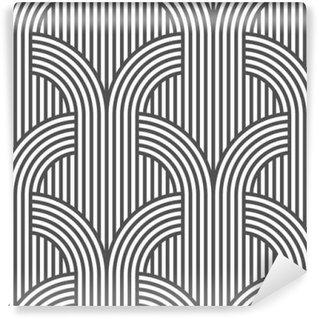 Fotomural Estándar Sin patrón de rayas blanco y negro geométrica - variación del 5