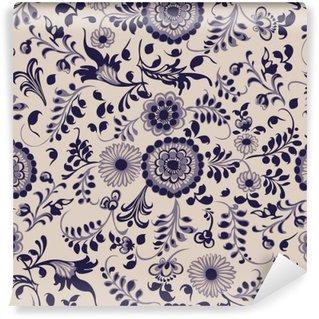 Fotomural Estándar Sin patrón, elementos decorativos florales en el estilo de Gzhel