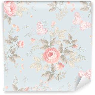 Fotomural Estándar Sin patrón floral con rosas y mariposas