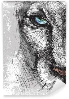 Fotomural Estándar Sketch Dibujado a mano de león mirando fijamente a la cámara