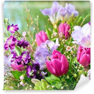 Fotomural Estándar Spring Awakening: Blütentraum de púrpura y rosa