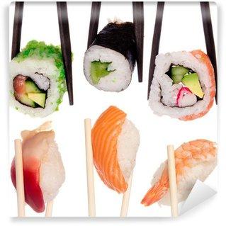 Fotomural Estándar Sushi con los palillos aislado más de fondo blanco