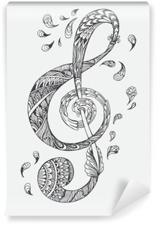 Fotomural Estándar Tecla de música dibujado a mano con adornos étnicos patrón del doodle. Ilustración del vector de la alheña Mandala Zentangle estilizado para el libro de la cubierta o de la tarjeta, tatuaje más. Diseño para la relajación espiritual para los adultos.