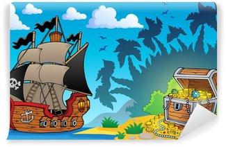 Fotomural Estándar Tema de pirata con cofre del tesoro 1