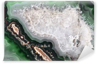 Fotomural Estándar Textura con estructura de ágata de color verde oscuro