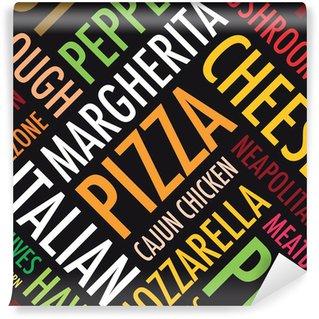 Fotomural Estándar Un fondo pizza cuadrada en blanco y negro