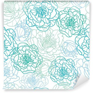 Fotomural Estándar Vector azul de línea de flores de arte elegante fondo sin fisuras patrón