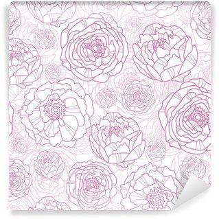 Fotomural Estándar Vector de color rosa flores de arte elegante línea de fondo sin fisuras patrón