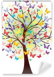 Fotomural Estándar Vector hermoso árbol de primavera, que consta de las mariposas