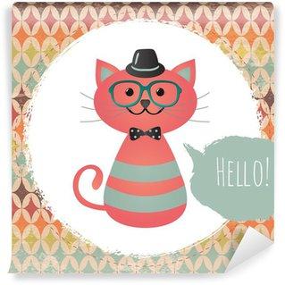 Fotomural Estándar Vector Hipster Cat tarjeta de felicitación del diseño de la ilustración