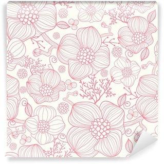 Fotomural Estándar Vector línea roja flores de arte elegante fondo sin fisuras patrón