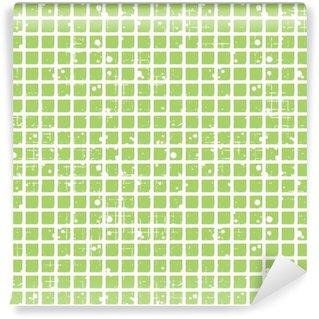 Fotomural Estándar Vector patrón a cuadros sin fisuras. fondo verde geométrico creativo con los cuadrados. la textura del grunge con el desgaste, grietas y ambrosía. Viejo estilo de diseño de la vendimia. Ilustración gráfica.